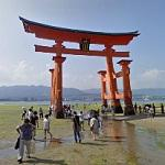 Torii of Itsukushima Shrine at low tide