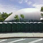Portable toilets by an inflatable structure