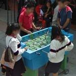 Playing table football