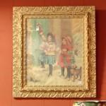 Old painting of children decorating for Christmas