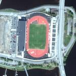Soccer stadium on an island