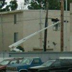 Person in a bucket truck