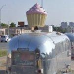 Cupcake on an Airstream trailer