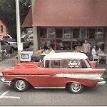 Shortened 57 Chevy Wagon at Fuller's Coffee Shop
