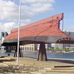 Inverted boat-hull used as the Islands Brygge bandstand
