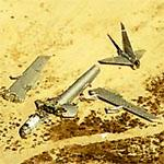 Two abandoned B-52s in the desert